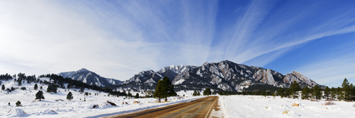 Fresh Snow on the Boulder Flatirons